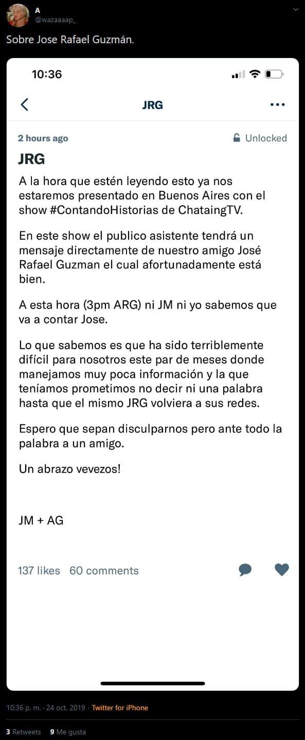 José Rafael Guzmán aparece