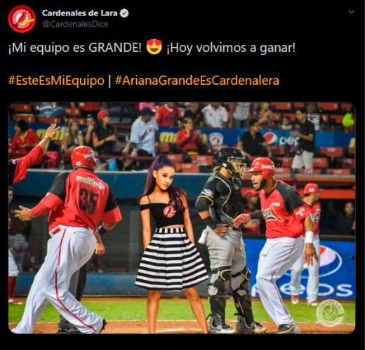 ariana grande y cardenales de Lara