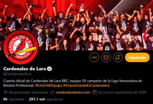 cuenta oficial de cardenales de lara