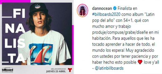Danny Ocean nominado a Premios Billboard 2020