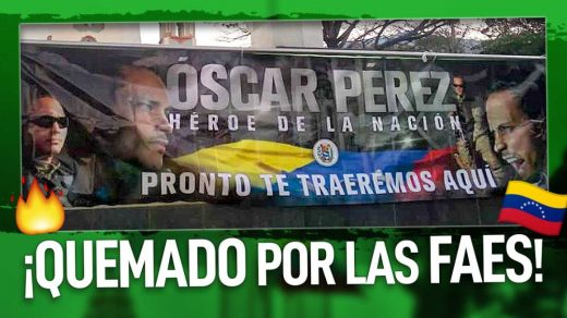 pendón de Oscar Pérez quemado por FAES