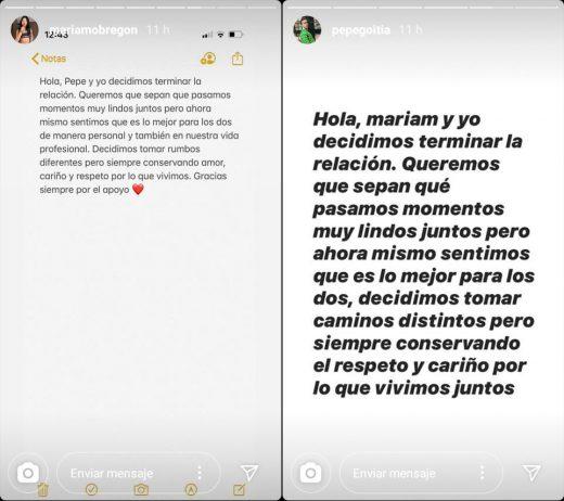 Mariam Obregón y Pepe Goitia terminaron