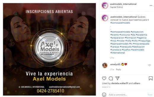 Academias de modelaje en Caracas